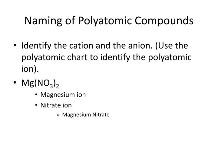 Naming of Polyatomic Compounds