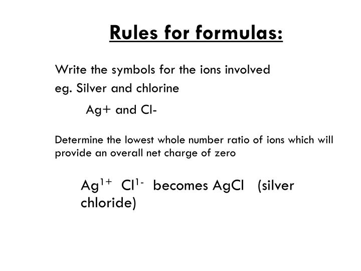 Rules for formulas: