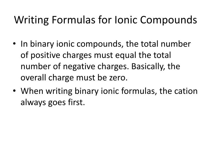 Writing Formulas for Ionic Compounds