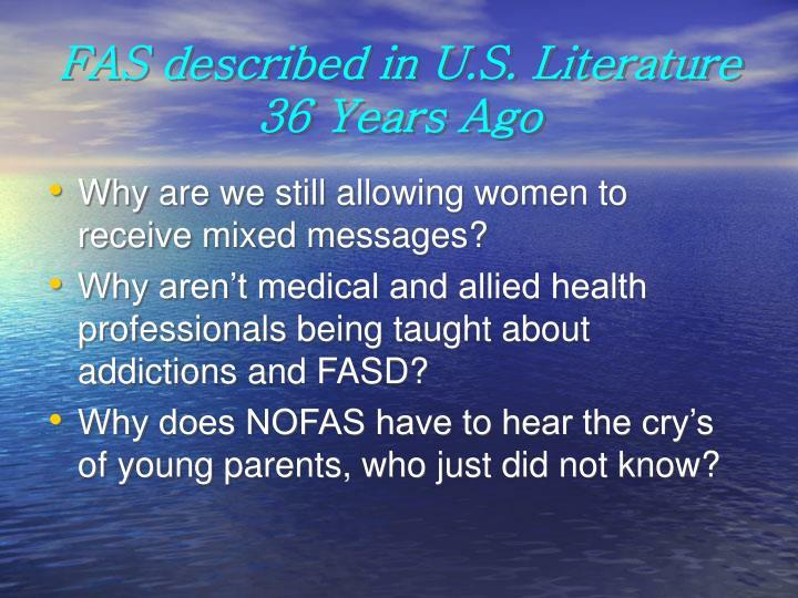 FAS described in U.S. Literature 36 Years Ago