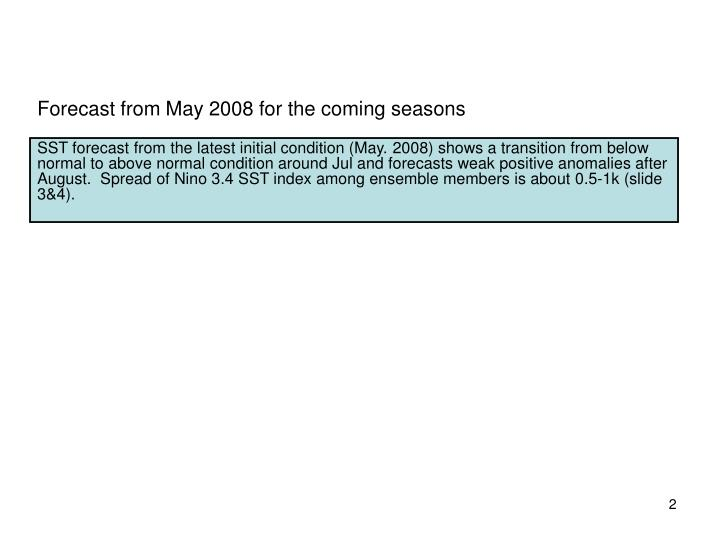 Forecast from May 2008 for the coming seasons