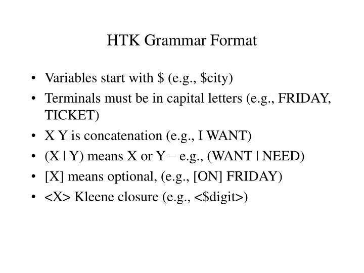 HTK Grammar Format