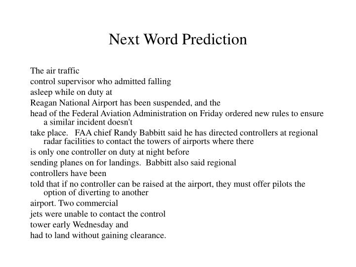 Next Word Prediction