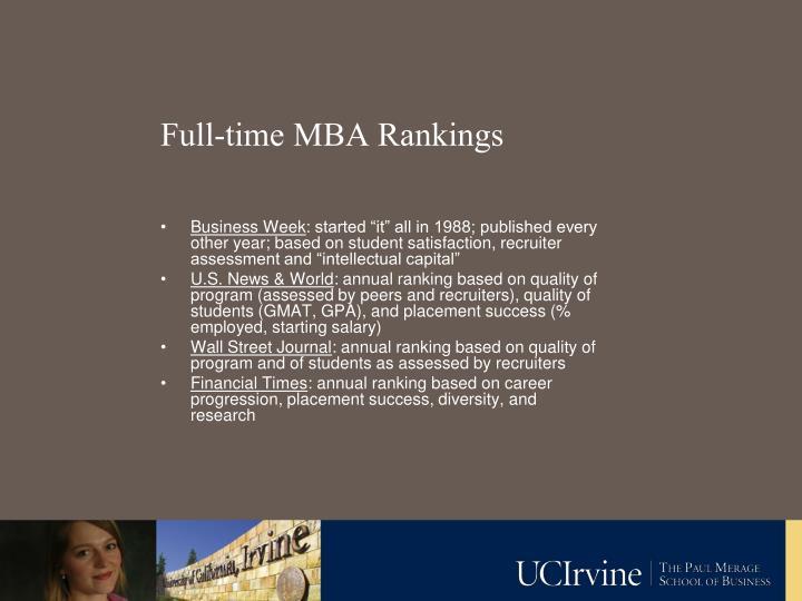 Full-time MBA Rankings