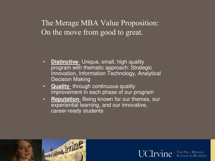 The Merage MBA Value Proposition: