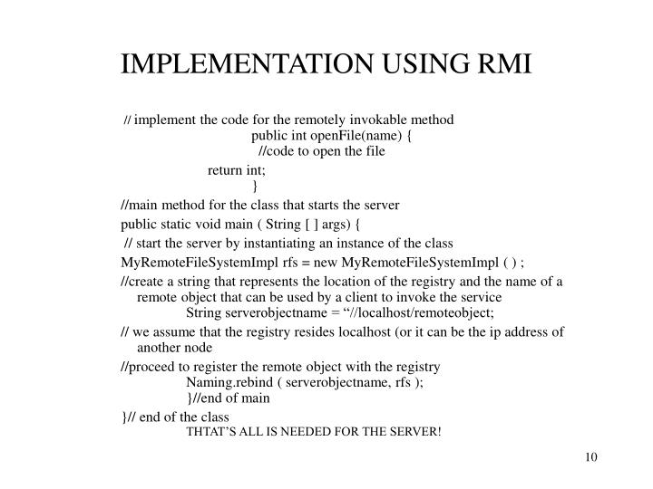 IMPLEMENTATION USING RMI
