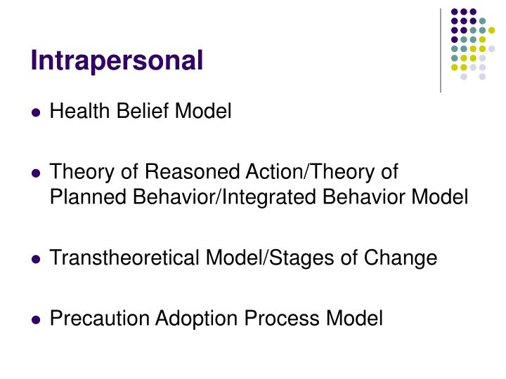 using the transtheoretical health promotion model for patient Health behavior models and oral health: the health belief model, transtheoretical model and the main message from health care providers to patients.