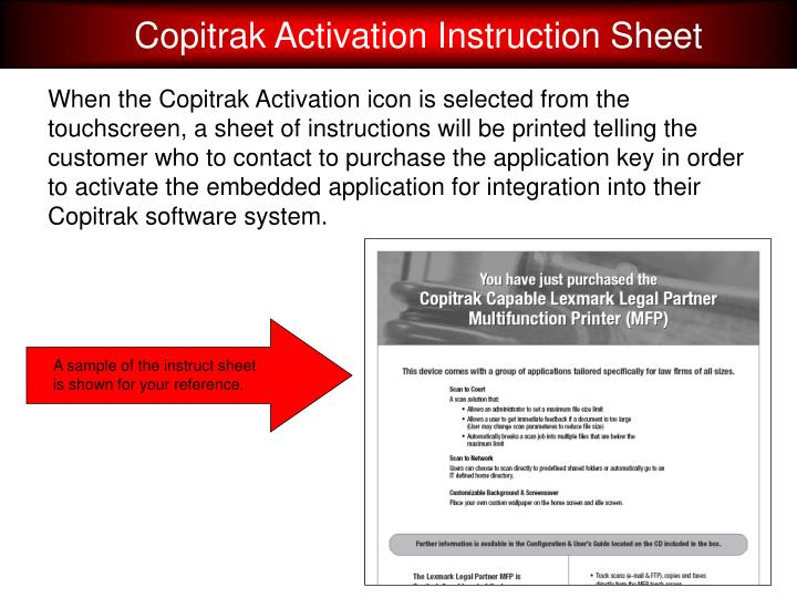Copitrak Activation Instruction Sheet
