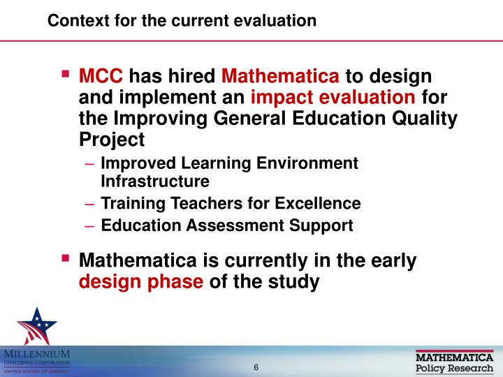 Context for the current evaluation