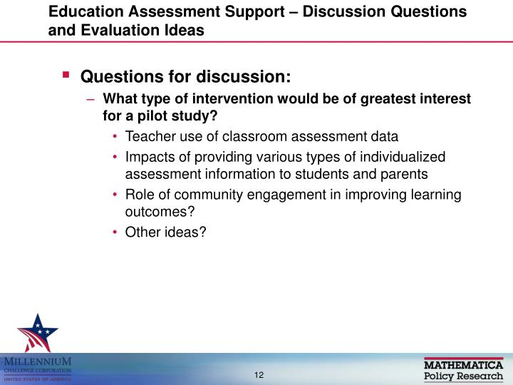 Education Assessment Support – Discussion Questions and Evaluation Ideas