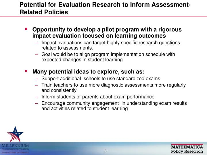 Potential for Evaluation Research to Inform Assessment-Related Policies