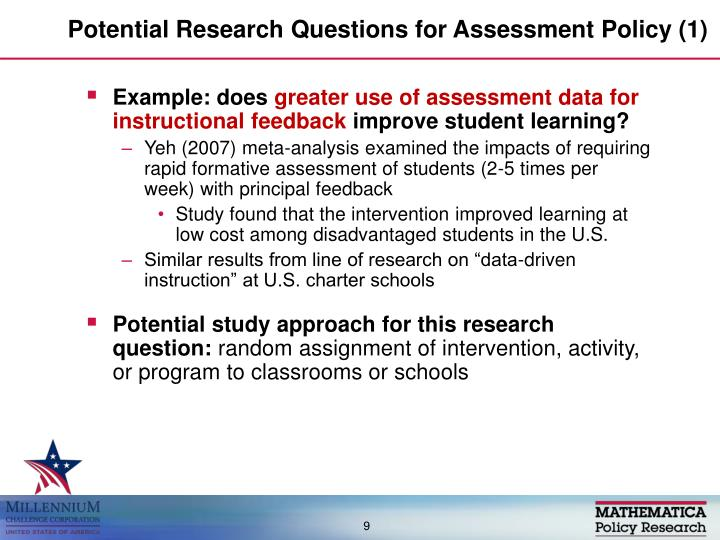 Potential Research Questions for Assessment Policy (1)