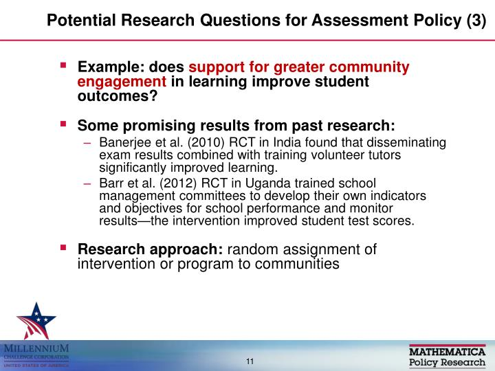 Potential Research Questions for Assessment Policy (3)