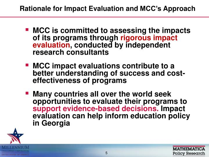 Rationale for Impact Evaluation and