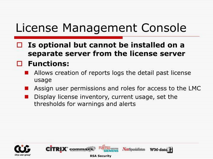 License Management Console