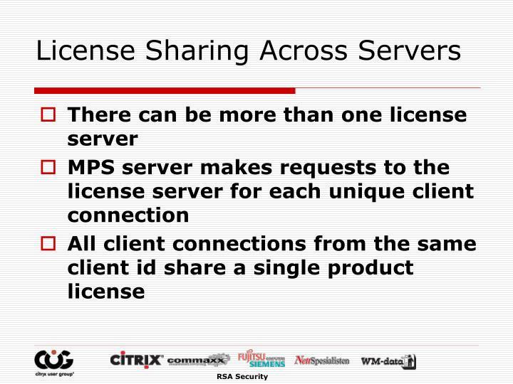 License Sharing Across Servers