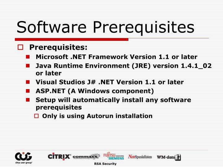 Software Prerequisites