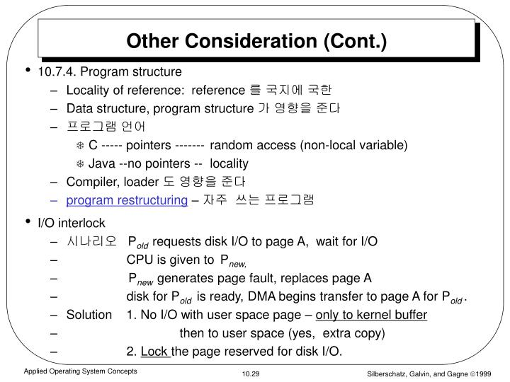 Other Consideration (Cont.)