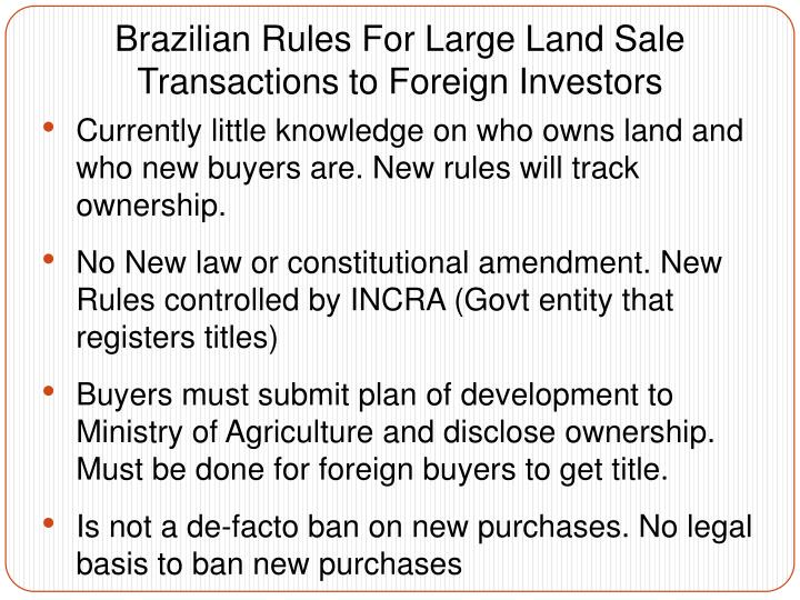 Brazilian Rules For Large Land Sale Transactions to Foreign Investors