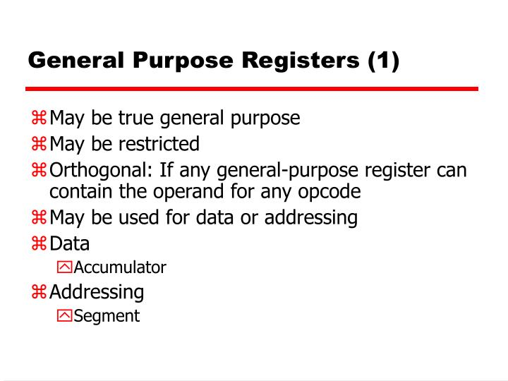 General Purpose Registers (1)