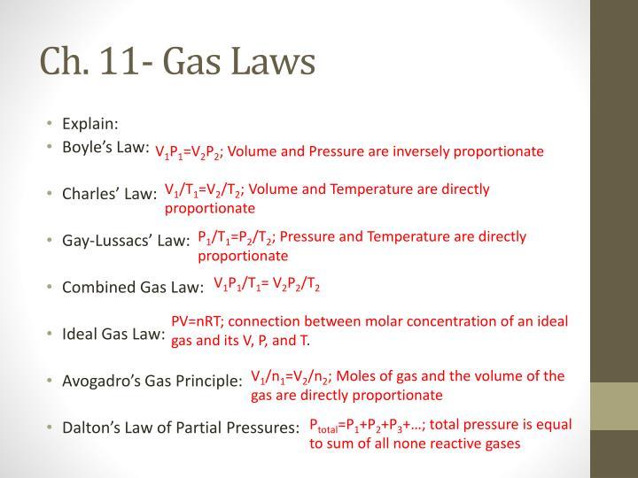 Ch. 11- Gas Laws
