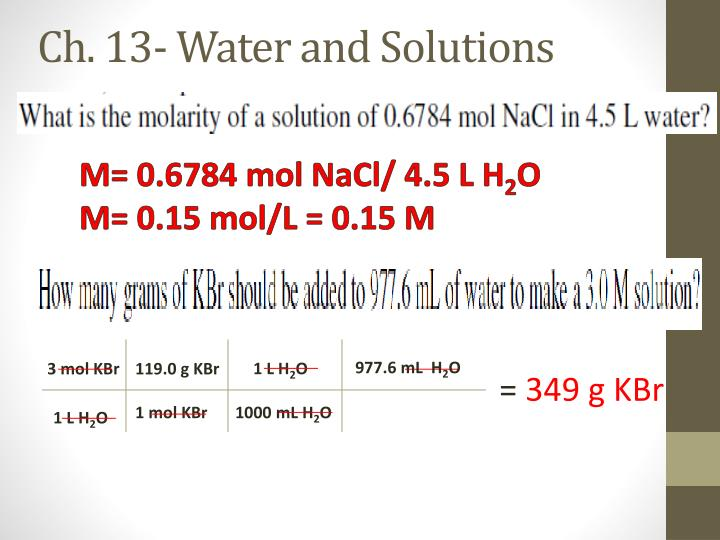 Ch. 13- Water and Solutions