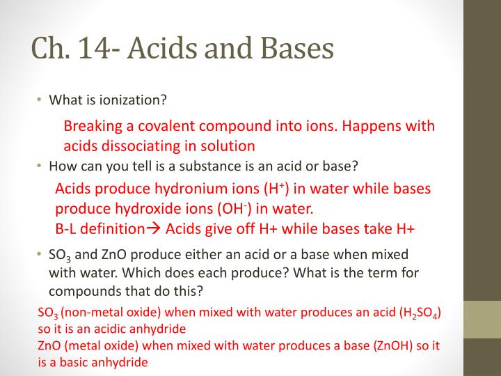 Ch. 14- Acids and Bases