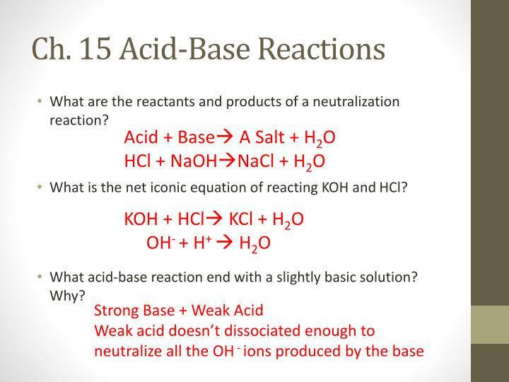 Ch. 15 Acid-Base Reactions