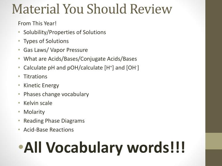 Material You Should Review