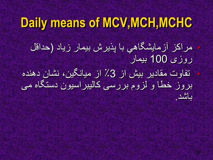 Daily means of MCV,MCH,MCHC