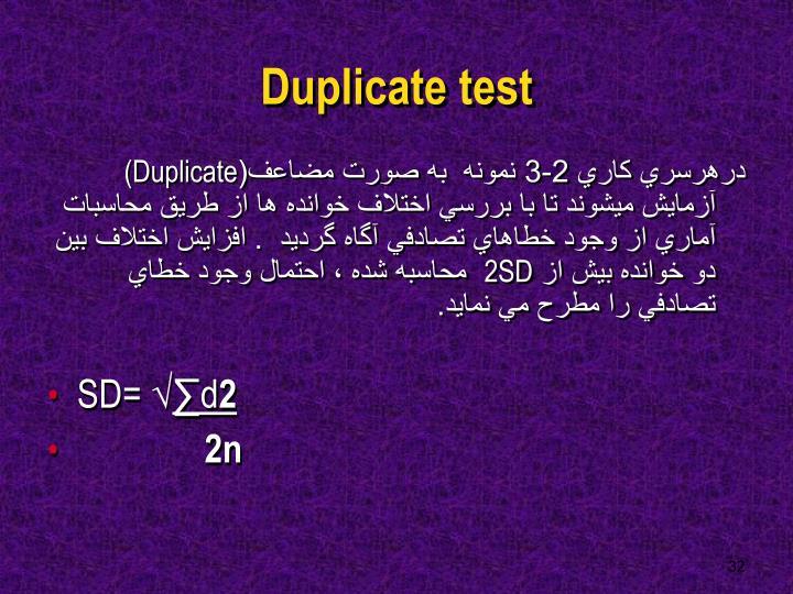 Duplicate test