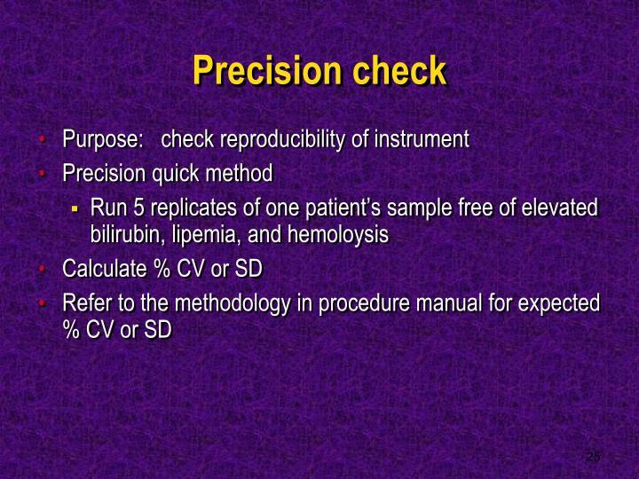 Precision check