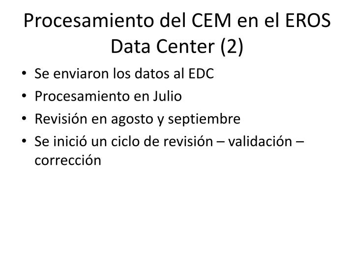 Procesamiento del CEM en el EROS Data Center (2)