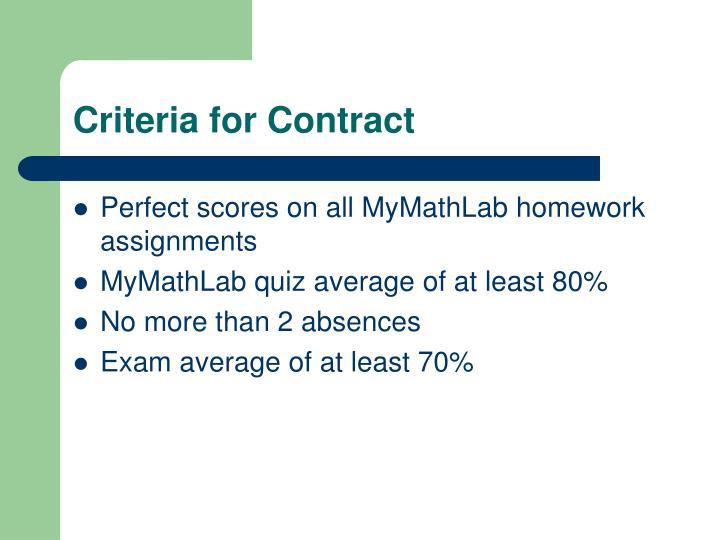 Criteria for Contract