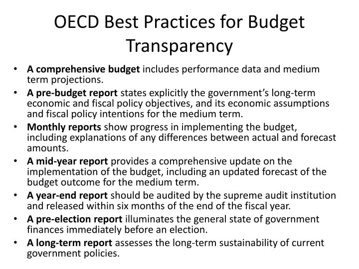 OECD Best Practices for Budget Transparency