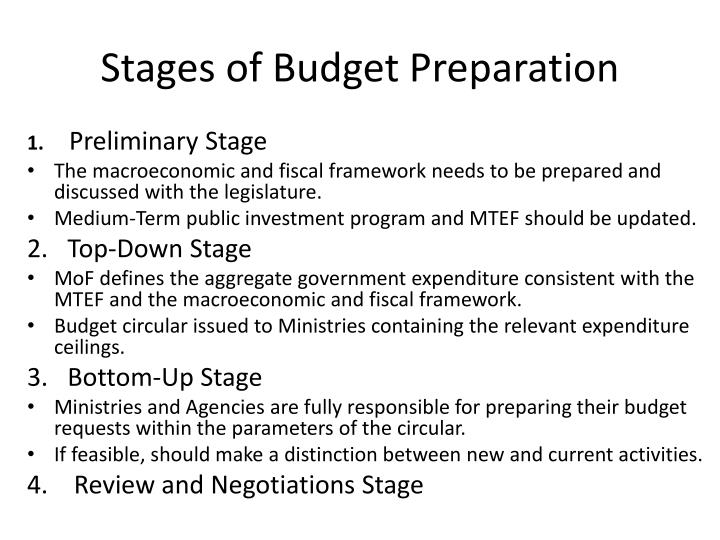 Stages of Budget Preparation