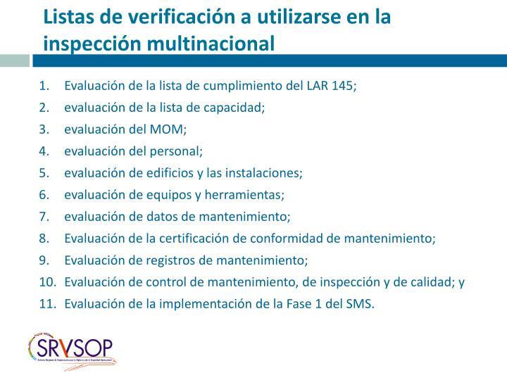 Listas de verificación a utilizarse en la inspección multinacional