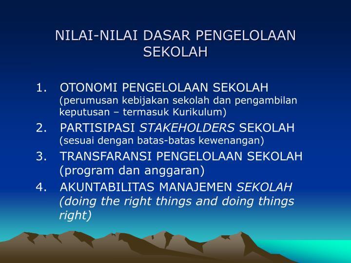 NILAI-NILAI DASAR PENGELOLAAN SEKOLAH