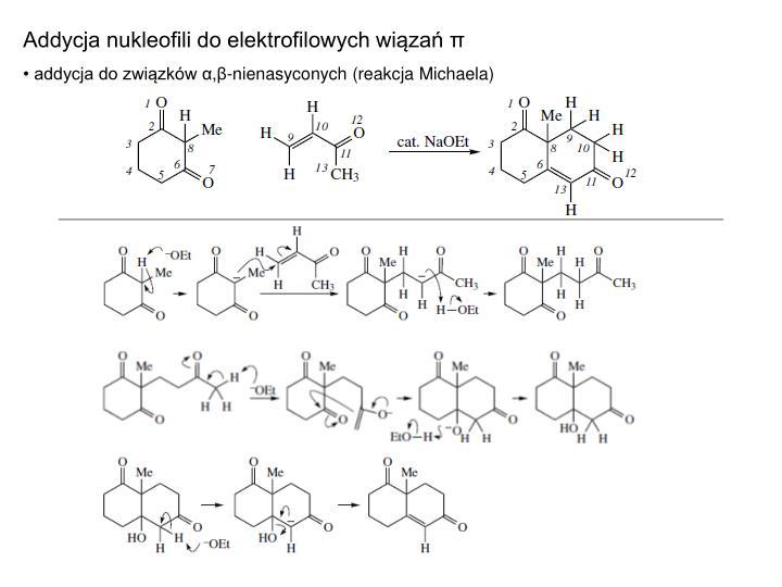 Addycja nukleofili do elektrofilowych wiązań