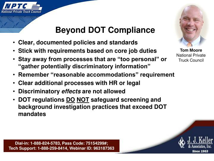 Beyond DOT Compliance