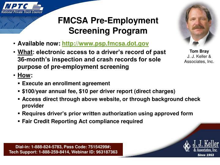 FMCSA Pre-Employment Screening Program