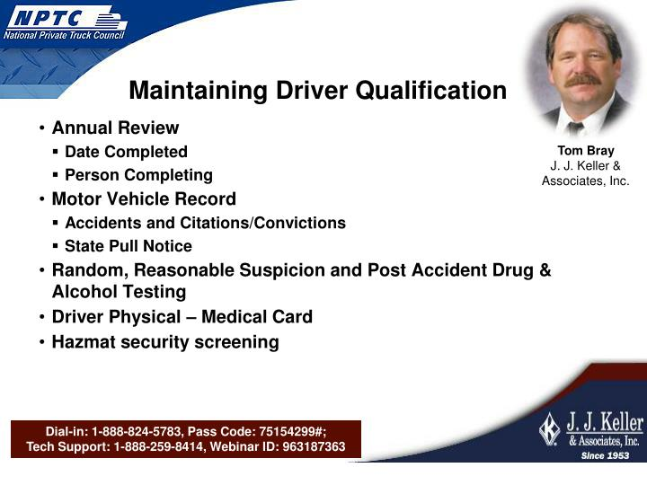 Maintaining Driver Qualification