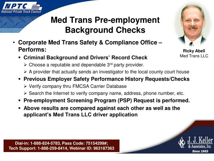 Med Trans Pre-employment Background Checks