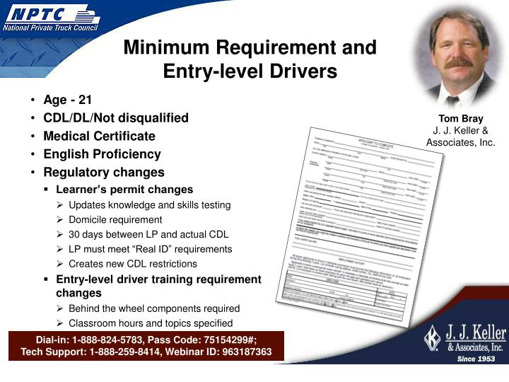 Minimum Requirement and Entry-level Drivers