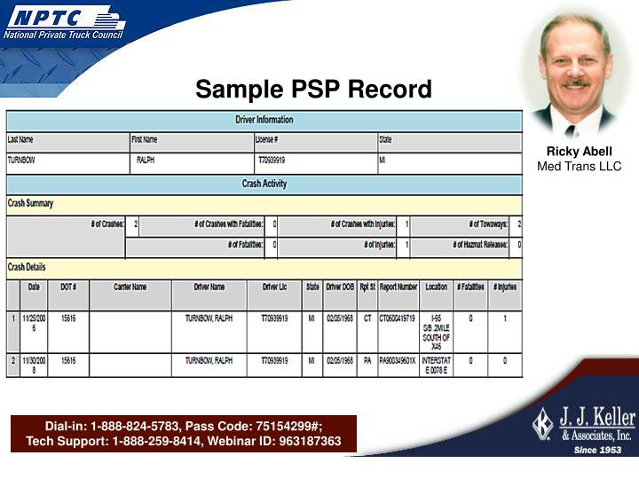 Sample PSP Record