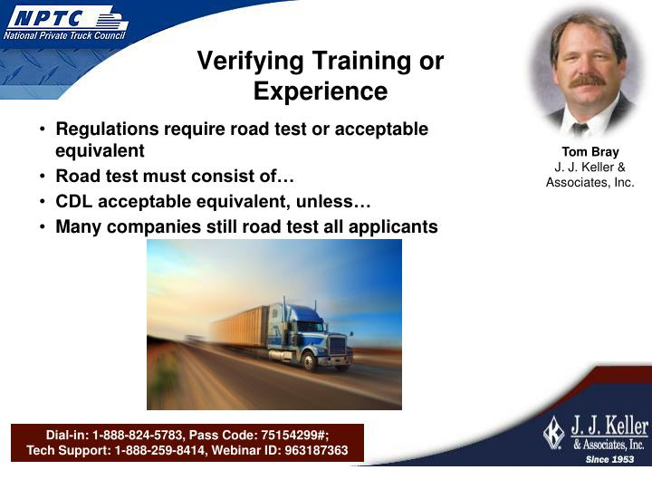 Verifying Training or Experience