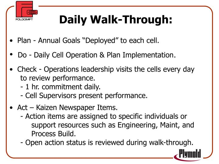Daily Walk-Through: