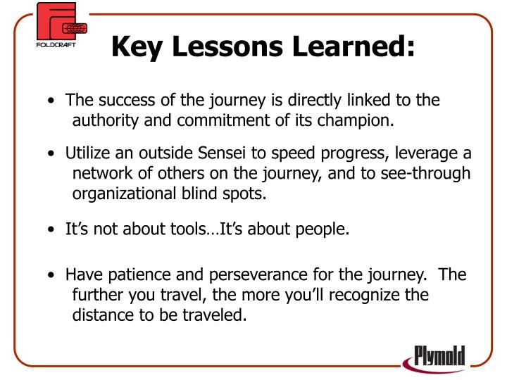 Key Lessons Learned: