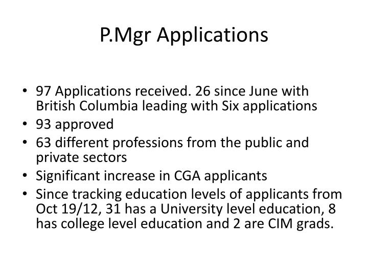 P.Mgr Applications
