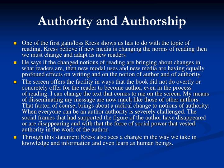 Authority and Authorship